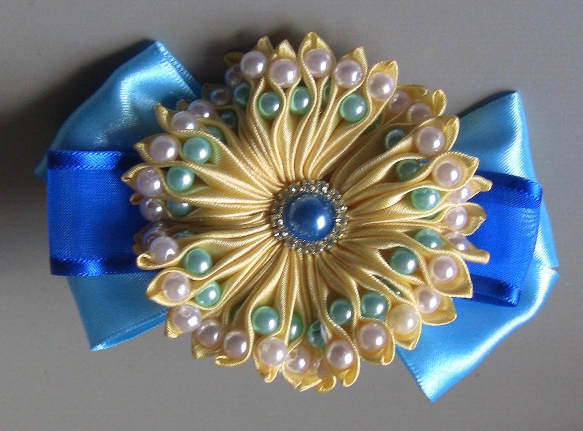 DIY  Ribbon flower with beads