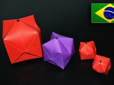 Origami: Balão. Bomba D'água - Instruções em Português PT-BR