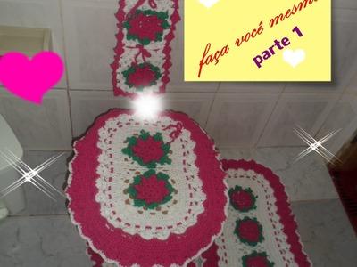 Passo a passo jogo de banheiro florido em crochê parte 1