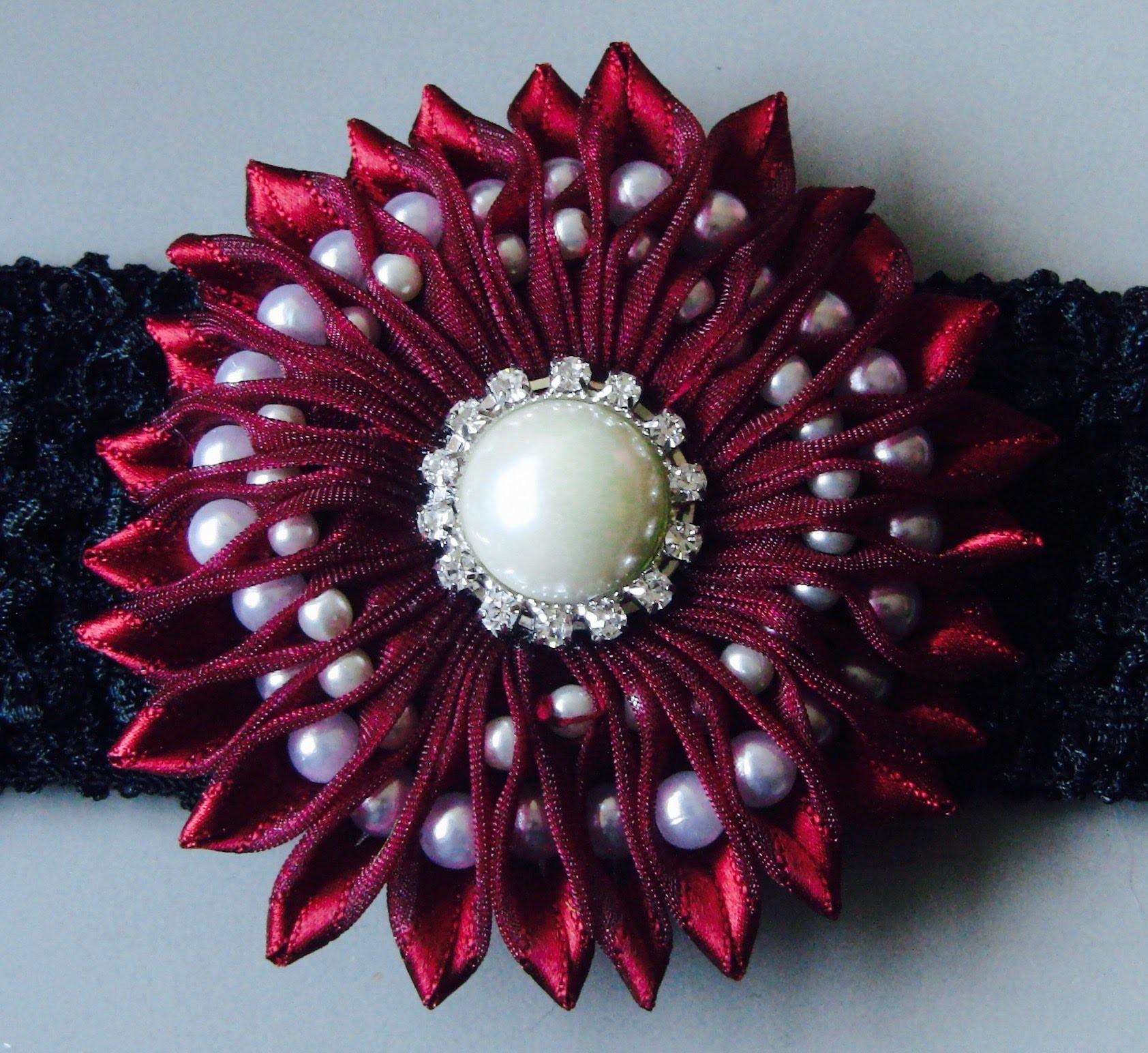 Ribbon flower with beads - grosgrain flowers