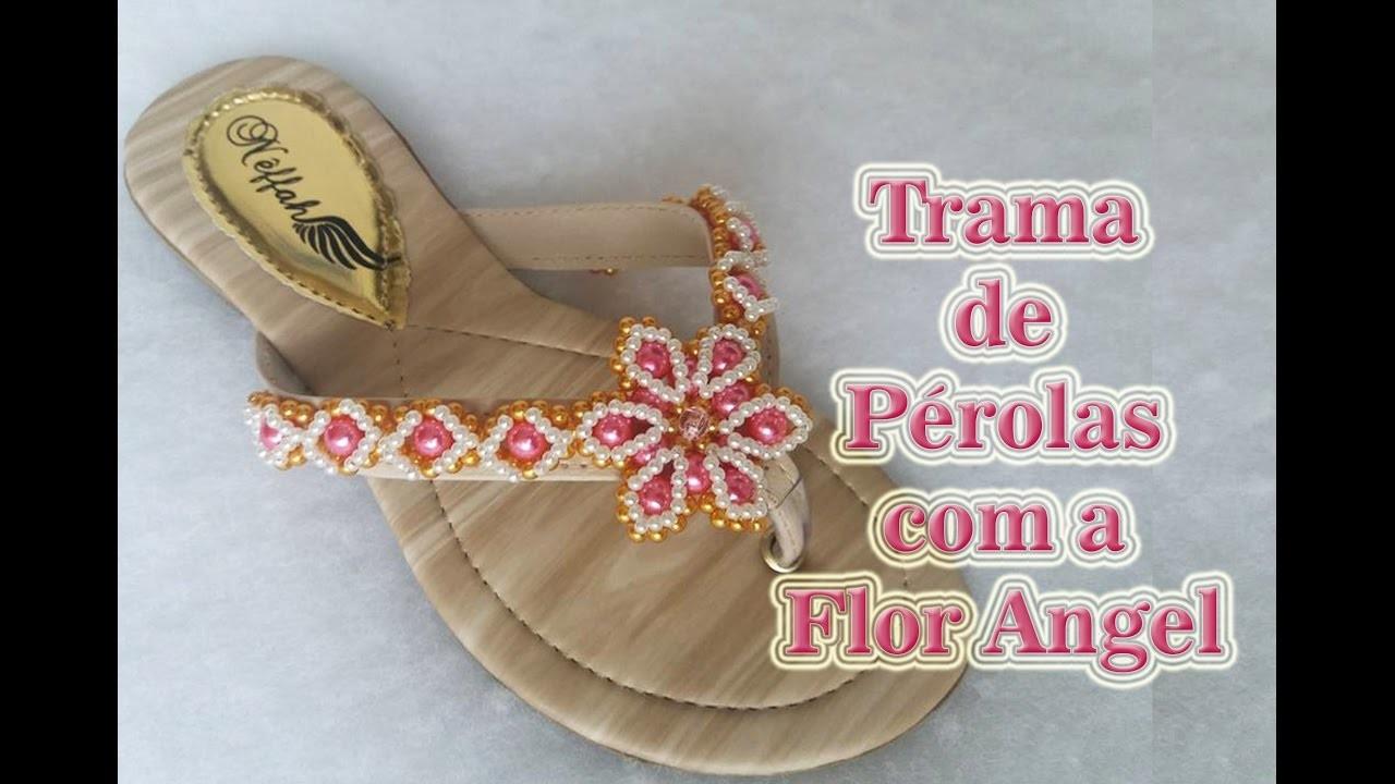 Trama de pérolas com a Flor Angel