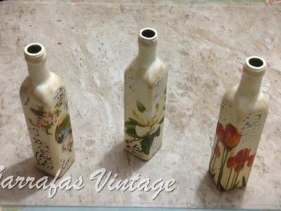 DIY - Garrafa Decorada Vintage como pintar em vidro