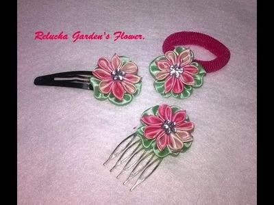 #48-  Flor de Tecido Cetim - DIY - Satin Flower.kanzashi.Satin-Blume.サテン花