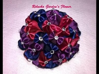 #49- Flor de Tecido Cetim - DIY - Satin Flower.kanzashi.Satin-Blume.サテン花