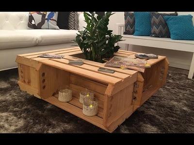 Como fazer uma mesa de centro com caixotes de madeira de feira