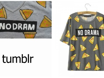 DIY Camisa Tumblr pizza -Como fazer estampa de pizza!