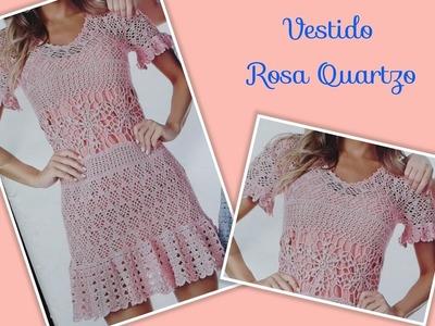 Versão destros: Vestido Rosa Quartzo em crochê tam. M ( 1°parte) # Elisa Crochê