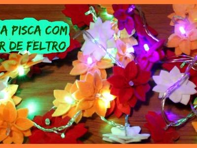 Luzes de  Natal  - pisca pisca com flores de feltro