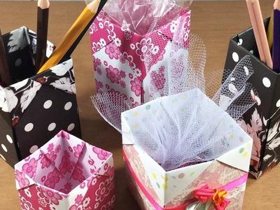 Caixa de origami - embalagem - dobradura de papel - DIY