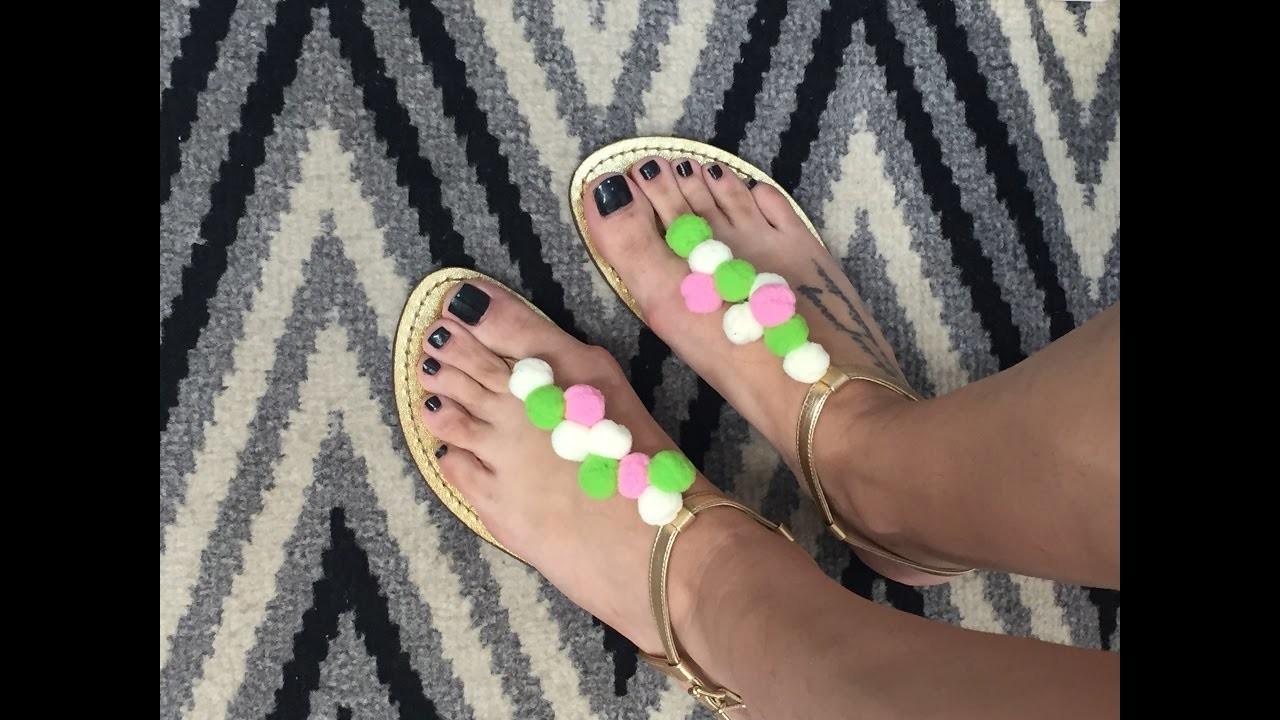 DIY - Como fazer uma sandália de pompons