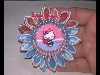 #38 - Flor de Tecido Cetim - Chatom Hello Kitty. DIY - Satin Flower.kanzashi.
