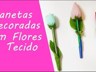Artesanato- Canetas decoradas com ponteira de tulipas e rosa de tecido