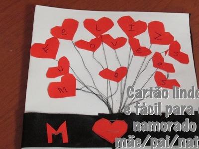 DIY: Cartão lindo e fácil para o namorado.mãe.pai.natal