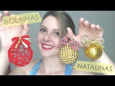 DIY - Como fazer bolinhas de árvore de natal - MUITO FÁCIL!