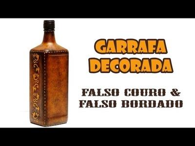 Garrafa Decorada com Pintura Falso Couro e Falso Bordado ( ARTESANATO, DIY, RECICLAGEM )
