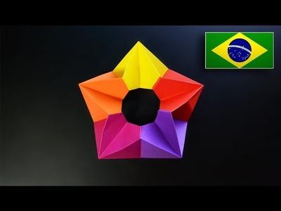 Origami: Estrela 3D - Instruções em Português PT-BR