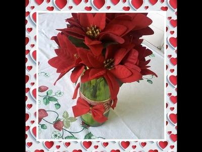 Vaso com flores decorativo para natal ★ DIY- Faça você mesmo