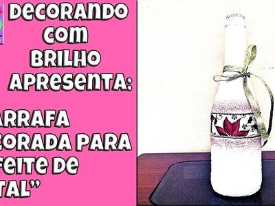 DIY | GARRAFA DECORADA para ENFEITE de NATAL com AREIA - Decorando Com Brilho