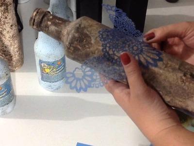 DIY - Garrafa decorada pintura efeito cimento queimado