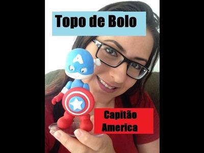 """DIY- Topo de Bolo """"Capitão América"""" - Raquel Fontinele"""