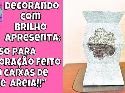 DIY | VASO DECORATIVO feito com CAIXA DE LEITE E AREIA GROSSA - Decorando Com Brilho