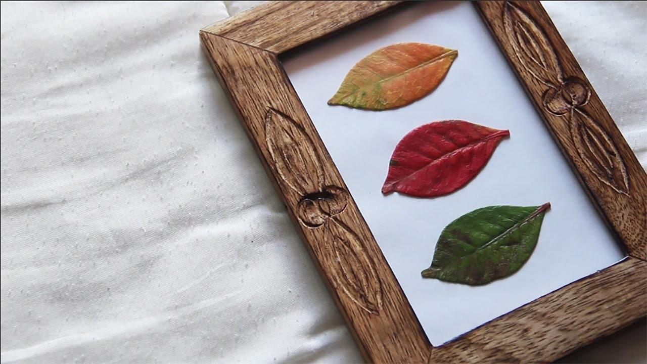 Reutilização de Folhas de Outono e Moldura   DIY FÁCIL