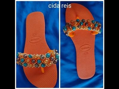 Sandália bordada com pérolas faça você mesmo diy estrelinha brilhante