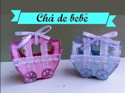 DIY: LEMBRANCINHAS PARA CHÁ DE BEBÊ. BABY CARRIAGE CARD. FAVOR BOX BABY.