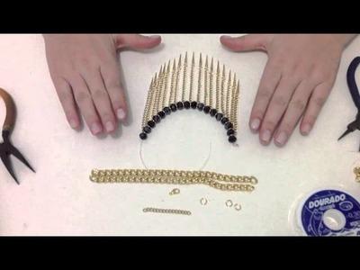 Como montar colar com cristais e spike