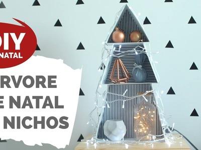 DIY DE NATAL #1 | Árvore nichos de papelão [repost] | Por GavetaMix