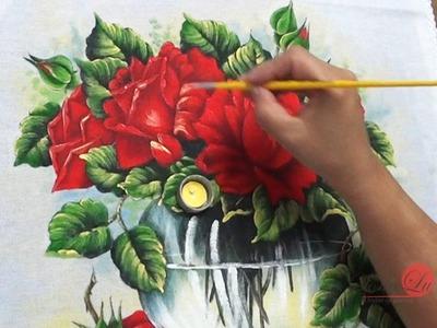 Jarro Transparente de Rosas em Tecido (Aula 57. Parte 2)