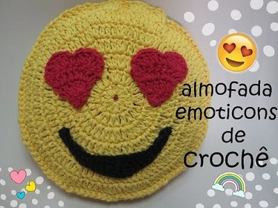 Almofada do emoticons de crochê ♥