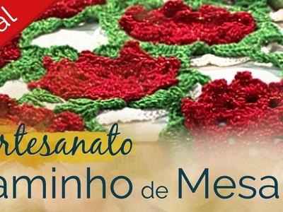 Artesanato #Natal | Caminho de mesa de crochê | Decoração de Natal