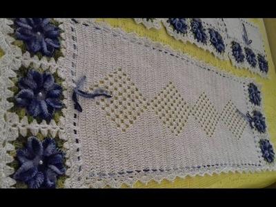 Caminho de Mesa do Jogo de Capas de Crochê Para Cadeiras - 2.2 - Com Cristina Coelho Alves
