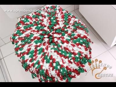 Jogo de Banheiro em Crochê Natal - Capa da Tampa do Vaso