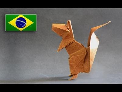 Origami: Esquilo - Instruções em português PT BR