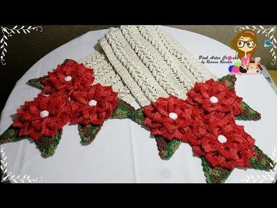 Passo a Passo CAMINHO DE MESA FLORENZA COM A FLOR MARLENE - Pink Artes Croche by Rosana Recchia