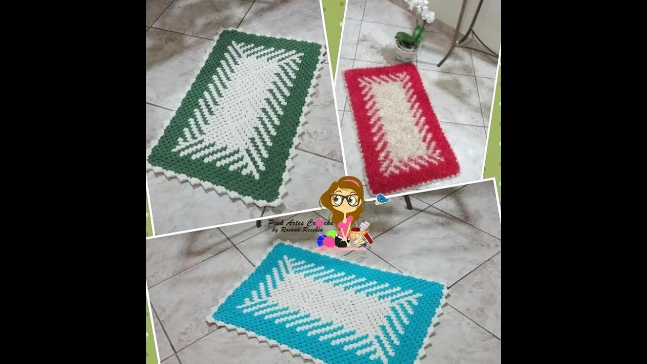 Passo a Passo Tapete em fio conduzido em diagonal sem Flor - Pink Artes Croche by Rosana Recchia