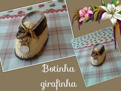Versão destros:Botinha girafinha 0 à 3 meses ( 1°parte solinha)# Elisa Crochê