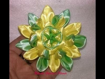 #55 - Flor de Tecido Cetim - DIY - Satin Flower.kanzashi.Satin-Blume.サテン花