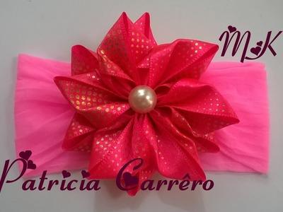 Flor de fita decorada  - MK