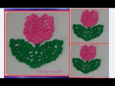 Galho com folha e Flor em crochê para aplicação