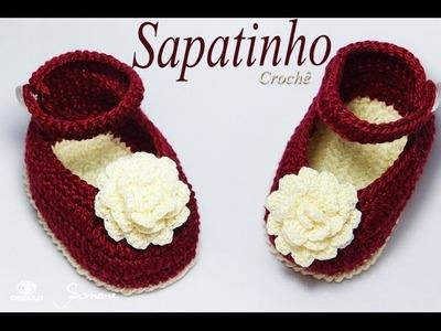 Sapatinho de Crochê Flor | passo a passo | Professora Simone