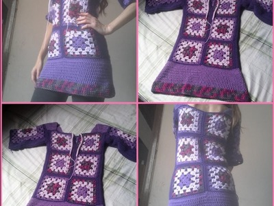 Vestidinho Boho Chic de Squares em Croche. Crochet Boho Dress
