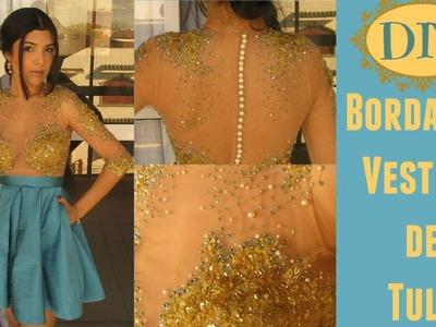 Vestido de Festa Turquesa - Como Bordar em Tule e Aplicar Renda
