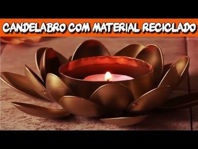 Artesanato com Reciclagem - Como fazer Candelabro com Material Reciclado