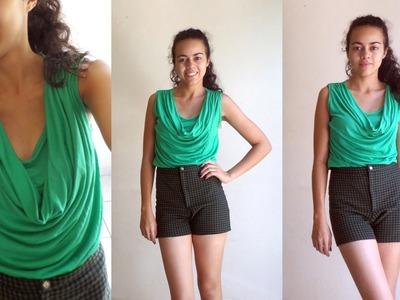 Como costurar uma blusa com gola degagê por Alana Santos Blogger