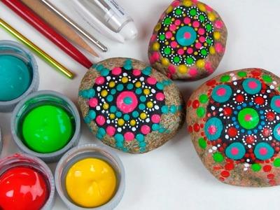 Como pintar pedras com mandalas pontilhadas!