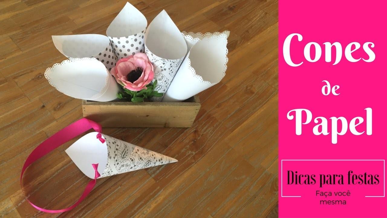 Cones de papel para festas- 3 maneiras de como fazer | Katherinne Ribeiro