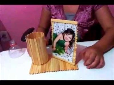 Palito de picolé - porta lápis